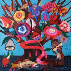 Spanish artist Mercedes Lagunas' series of acrylic paintings overwhelm me with glee. I want to experience a world where birds are so beautifully patterned and flowers are contentedly overgrown and colorfully vibrant. And for $15 a print, I'm so glad I can . . .