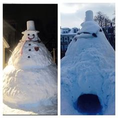 Climb into his butt.   33 Ways To Build A Snow Fort You'll Want To Move In To