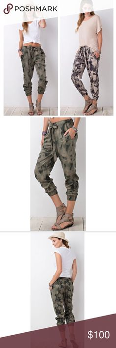 "Printed Jogger Ankle Pants Soft and light loose fitting tie dye / camo print pants. Side pockets and adjustable waist tie. Waist back is elastic, with elastic ankles. 50% rayon / 50% cotton. TWO COLORS!  Flat measurements:  S: 14.5"" waist / 9"" rise / 23.5"" inseam  M: 15"" waist / 9.5"" rise / 24.5"" inseam  L: 15"" waist / 10"" rise / 25.5"" inseam     ▪️NO TRADES   ▪️PRICE FIRM JV Boutique Pants"