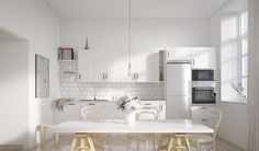 Retro industrial kitchen with butcher tiles
