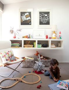 play space in a Family Room: Anthology Magazine - 2012 Holiday Gift Guide - Page Ikea Lack Shelves, Lack Shelf, Floating Shelves, Ikea Bookcase, Room Shelves, Ideas Habitaciones, Deco Kids, Playroom Organization, Organized Playroom