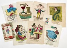Comic valentines, published and sold by John Wrigley and Henry De Marsan, New York, among others, c. 1865. Woodcut and wood engraving on wove paper, with hand coloring; ranging in size from 10 by 7 ½ inches to 5 by 3 ½ inches. These colorful, bitingly satirical, and generally funny (though often crude and cruel) messages circulated on Valentines Day, and carried multiple layers of sentiment and subtext between their images and their poems.