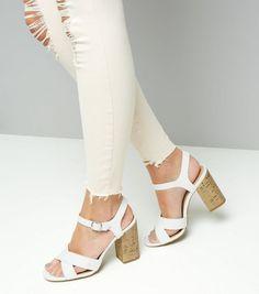 White Cross Strap Cork Block Heeled Sandals | New Look