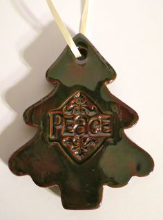 PEACE CHRISTMAS TREE  Ceramic Ornament  Inner Art by InnerArtPeace, $7.00
