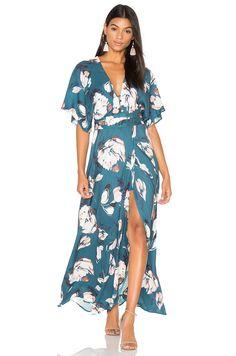 Yumi Kim Kimono Maxi Dress em Blushing Daisy