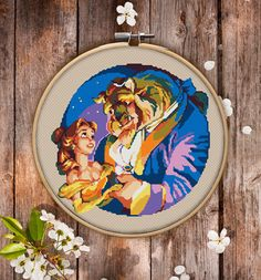This is modern cross-stitch pattern of Beauty and the Beast for instant download. Nice cross-stitch version of Disney's Beauty and the Beast. It is a good idea for kid's room decoration. This picture also could be a nice present for your fiend. You will get 7-pages PDF file, which includes: - main picture for your reference; - colorful scheme for cross-stitch; - list of DMC thread colors (instruction and key section); - list of calculated thread length The size of the picture is 6.93 X…