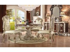 "Homey Design HD-8017 5 Pcs Round Dining Set for $2556 Description : The elaborate designs of Old World Europe are treated with a distinct modern touch. The eye-catching with gold undertone finish of the show wood frame. With details such as shell and acanthus leaf scrolling, the traditional look of the collection is solidified. Includes 1 Dining Table + 4 Chairs Dimension : Dining Table : 108""L x 48""W x 31""H Side Chair: 28″L x 28″W x 51″H"