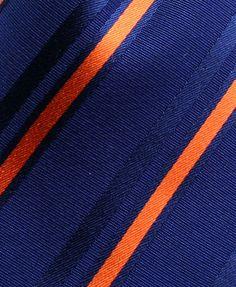 Navy & Orange Striped Pocket Square