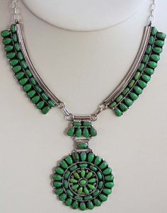 NativeIndianMade.com - Navajo Gaspeite Cluster Necklace by Juliana Williams