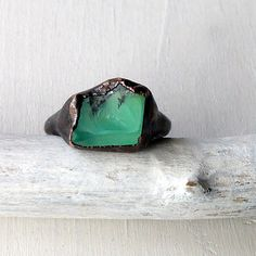 Raw chrysoprase and copper handmade ring