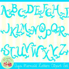 Aqua Mermaid Letters Clipart Set perfect for all kinds of creative projects! All designs are digital sales. No items will be shipped! You will receive : 26 separate high resolution 300dpi transparent PNG format in a zip file -- you need winzip or other zip extracting software to