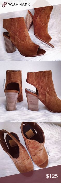 """Dolce Vita 'Panya' pull-on suede cutout bootie Casual open toe booties by Dolce Vita in a dark saddle color. 4"""" chunky wooden heel. Chic and versatile for any season. New condition.✨  Photo #5 📸: southerncurlsandpearls.com {for modeling purposes only}  Please don't hesitate to ask questions. ❥ Dolce Vita Shoes Ankle Boots & Booties"""