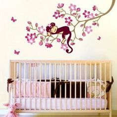 Amazon.com: Cute Monkey And Pink Flower Blossom Tree Wall Art Decor Decal Baby Girls Room Nursery Kids Children Bedroom Removable Wall Stick...