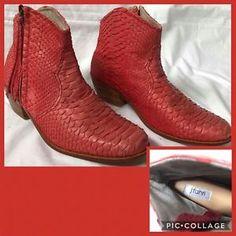 eafd50badc3 J Fahri Ankle Python Boots Sz Eur 42 Aus 11 Red Orange Designer Chic Shoes