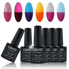Elite99 Chameleon Temperature Color Changing Gel Polish Soak off UV LED Manicure Lacquer 10ml 6PCS Set C002 *** Check out the image by visiting the link.Note:It is affiliate link to Amazon.