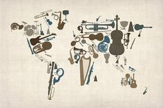 Musical Instruments Map of the World Map Digital Art  - Musical Instruments Map of the World Map Fine Art Print