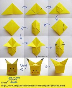 Are you a Pokémon fan? Or your kids are fond of Pikachu? These Pikachu origami tutorials are for all the Pokémon fans out there, just like you. First of all, you need a square piece of origami paper… Continue Reading → Design Origami, Origami Simple, Instruções Origami, Origami Tattoo, Origami Star Box, Origami Ball, Origami Fish, Origami Folding, Paper Crafts Origami