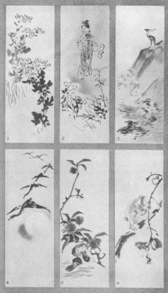 Chrysanthemum (1). Tatsutahime (2). Deer and Maples (3). Geese and the Moon (4). Fruits of Autumn (5). Monkey and Persimmons (6). Plate LXI.