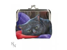 This stylish coin purse comes from the fantastic imagination of the talented Lisa Parker A black cat slumps on a crumpled red and purple jester's hat Belt Purse, Coin Purse, Realistic Dragon, Lisa Parker, Types Of Purses, Jester Hat, Wooden Chest, Green Eyes, Shoe Boots