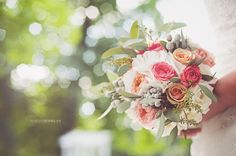 Wedding bouquet with roses, hydrangea, brunia and seed eucalyptus
