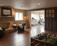 Make the work out room a dining room/kitchen and this would be a perfect layout