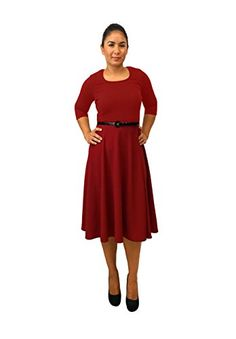 DBG Womens Three Quarter Sleeves Round Neck Polyester Dress Extra Large Red undefined undefined