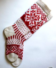 Red and white CUSTOM MADE Scandinavian pattern rustic fall autumn winter knit knee-high wool socks present gift Wool Socks, Knit Mittens, Knitting Socks, Fall Knitting, Fair Isle Knitting, Knitting Projects, Knitting Patterns, Scandinavian Pattern, Fair Isle Pattern