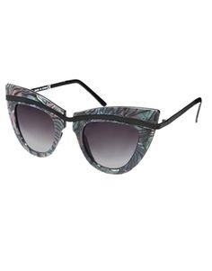 ASOS Metal Top Cat Eye Sunglasses With Built Up Highbrow