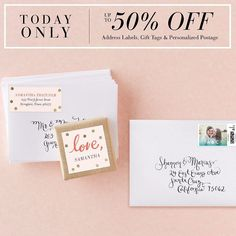 Create the perfect finishing touches for your invitations. Today only enjoy 50% off address labels & gift tags with code 0924DEAL50 plus 20% off personalized postage with code 0924DEAL20.  Tag a friend who's getting married!  #Wedding #Sale #BridalStyle #DIY by weddingpaperdivas