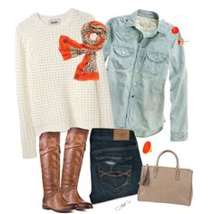 Cream sweater, chambray, orangey/peachy/brown design scarf or animal print scarf....brown/black/denim jeans?  Brown boots