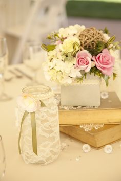 Close up of our table deco! Clay flower arrangements by Mylinh! They turned out so amazing!