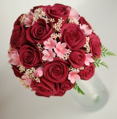 Made to Order Keepsake Red Roses with Pink Sakura Cherry Blossom Bridal Bouquet. $340,00, via Etsy.