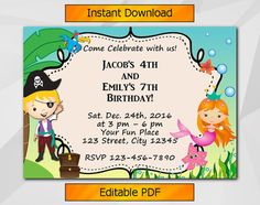 "Editable Twin Pirate and Mermaid Birthday Invitation by Digi Invites https://www.etsy.com/shop/DigiInvites/   This listing is an ""INSTANT DOWNLOAD"" that includes a high res..."