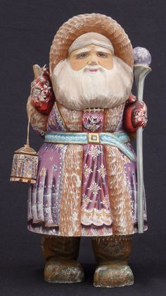 """Authentic Russian Wood Walking Santa Hand Carved Painted w Lantern Signed 12 5""""   eBay"""