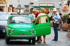 Green Fiat 500, Amalfi, Italy