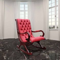 Chesterfield York Slipper Rocking Chair Red Leather
