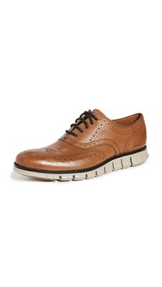 COLE HAAN ZEROGRAND WINGTIP OXFORDS. #colehaan #shoes Cole Haan Shoes, Brogues, Timeless Fashion, Oxford Shoes, Dress Shoes, Lace Up, Mens Fashion, Foundation, Leather