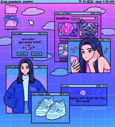 I joined 's dtiys! (TAP FOR SOUND 🎵 SONG: plain plaid purple morning by Biosphere) I think I'm in love with drawing… Aesthetic Drawing, Aesthetic Art, Aesthetic Anime, Purple Aesthetic, Arte Do Kawaii, Kawaii Art, Cute Art Styles, Cartoon Art Styles, Arte Copic