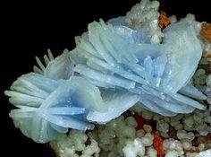 Baryte, BaSO4, blue with calcite and limonite, Ouichane Mines, Beni Bou Ifrour, Nador, Morocco