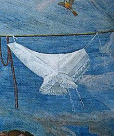 Ruffled partlets shown on a washing line The maiden quarter, ca. 1588/89, Alessandro Allori (Palazzo Pitti, Florence) photo allori1589pitti8.jpg Gorguera - what looks like a partlet on the washing line there.
