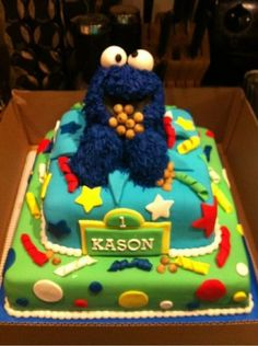 Cookie Monster cake Cake by Bonald Rocket Cake, Monster 1st Birthdays, Cookie Monster Party, Cookie Cake Birthday, Sesame Street Party, Character Cakes, Cakes For Boys, Cake Art, Cupcake Cakes