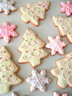 Christmas cookies in pastel