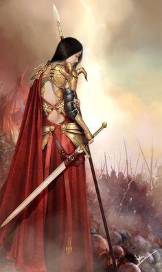 by hongartist/ female warrior red gold sword art fantasy Fantasy Girl, Fantasy Anime, Chica Fantasy, 3d Fantasy, Fantasy Kunst, Fantasy Warrior, Fantasy Women, Medieval Fantasy, Fantasy Artwork