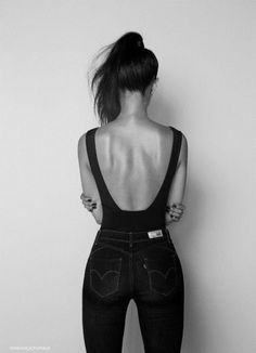 body suit with a low cut back... not easy to make this fit... i'm struggling with mine!