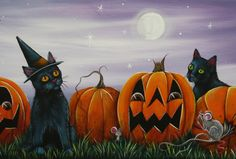 halloween paintings on canvas - Yahoo Image Search Results Halloween Art Projects, Halloween Artwork, Halloween Painting, Halloween Patterns, Halloween Pictures, Scary Halloween, Vintage Halloween, Fall Halloween, Halloween Ideas