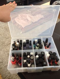 Dust free nail polish storage for cheap! Got this huge 8 compartment tackle box from kmart australia for $9.00. You can see the colours from all sides, I organised them by colour. I have a collection of 67 polishes and there's plenty of room to grow. It fit all the polishes even tall ones.
