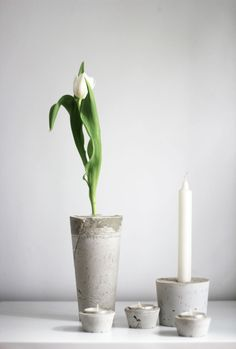 worry about it later: diy: concrete vases and candle holders Candle Holders, Diy Concrete, Candles, Vases, Interior, Inspiration, Home Decor, Candlesticks, Homemade Home Decor