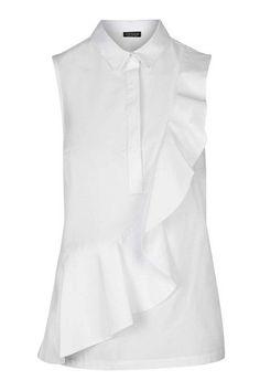 Short Sleeve Ruffle Shirt – Topshop Source by risstarabocchia Ruffle Shirt, Shirt Dress, Frilly Shirt, Ruffle Top, Summer Work Wardrobe, White Short Sleeve Shirt, Topshop Shorts, Moda Chic, Mode Style