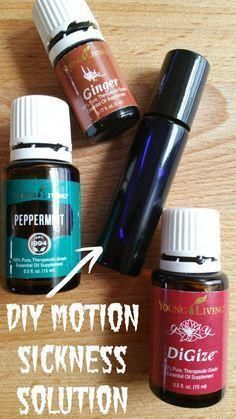 DIY Essential Oil Recipes and Ideas - DIY Essential Oils for Motion Sickness - Cool Recipes, Crafts and Home Decor to Make With Essential Oil - Diffuser Projects, Roll On Prodicts for Skin - Recipe Tu Ginger Essential Oil, Yl Essential Oils, Yl Oils, Essential Oil Diffuser, Essential Oil Blends, Young Living Essential Oils Recipes Cold, Essential Oils For Dizziness, Essential Oils For Vertigo, Cool Diy