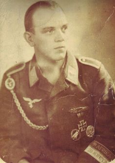 Unteroffizier Herbert Reinersmann wears the army's General Assault Badge and a Close Combat Clasp in addition to the Kreta and Afrika cufftitles in this studio portrait. He was killed in action in April, 1945